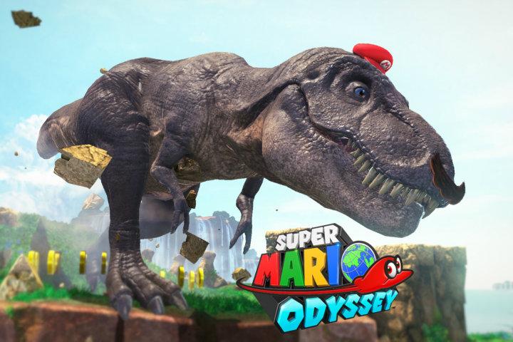 Mario T-rex Header