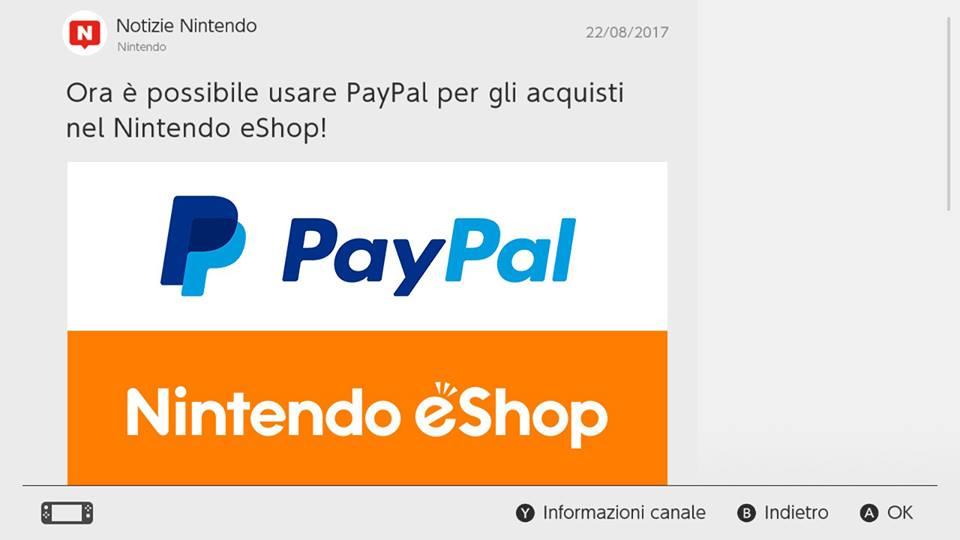 pagare con PayPal su eShop Switch