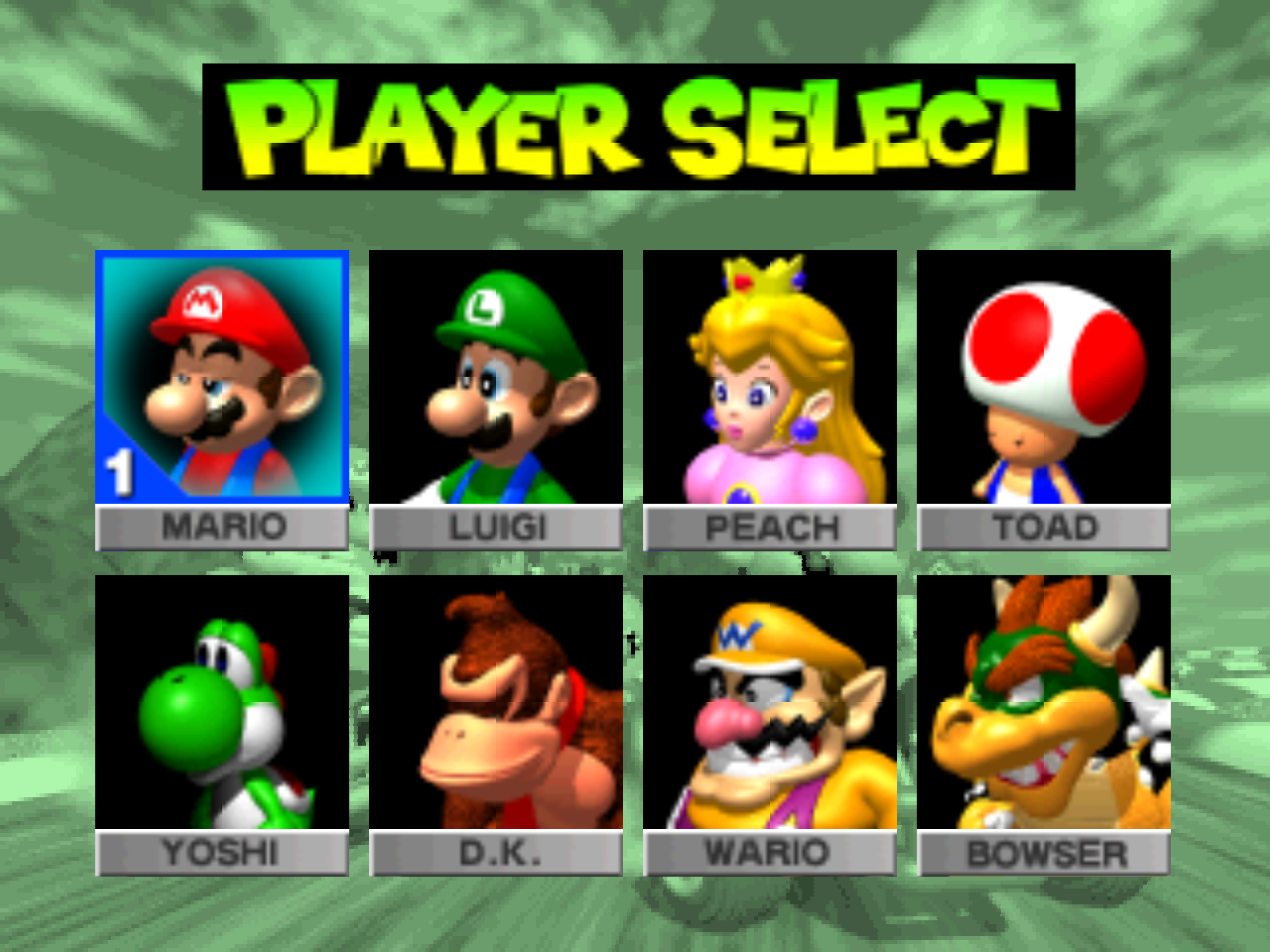 Mario kart player select