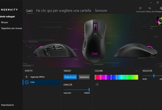 Sezione gestione illuminazione mouse