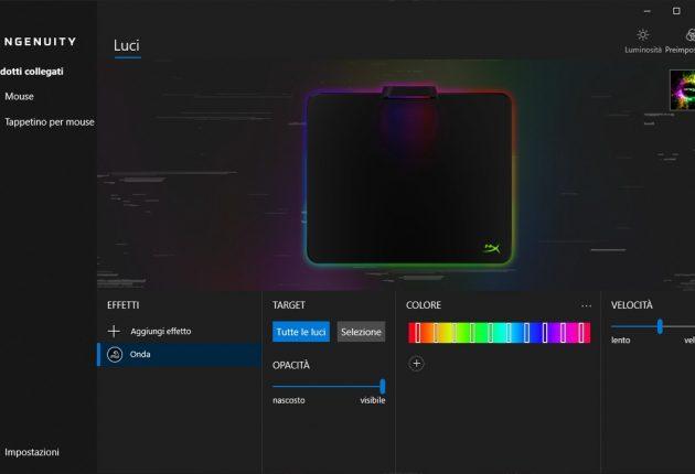 Sezione gestione illuminazione mousepad